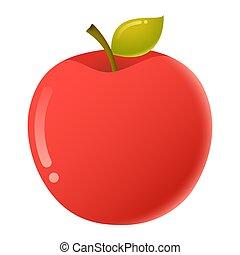 フルーツ, かわいい, 隔離された, 白い背景, 漫画, ベクトル, アップル
