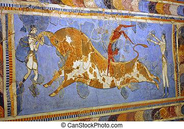 フレスコ, 考古学的, 博物館, heraklion