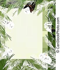 フレーム, 作られた, 木, クリスマス