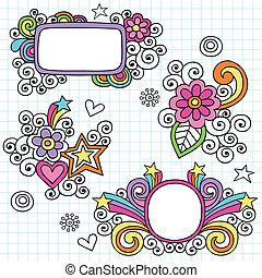 フレーム, doodles, 素晴しい, ボーダー
