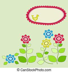 フレーム, flowers., 庭, 鳥