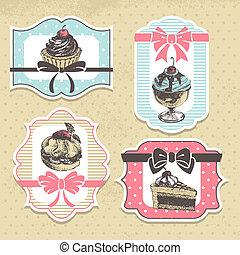フレーム, labels., 甘い, セット, cupcakes, パン屋, 型