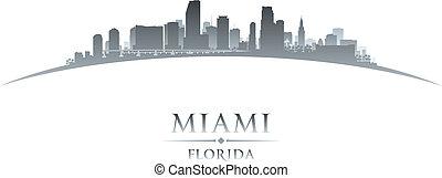 フロリダ, マイアミ, 背景, スカイライン, 都市, シルエット, 白