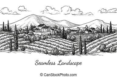 ブドウ園, 景色。, seamless