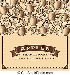 ブラウン, 収穫, レトロ, カード, アップル