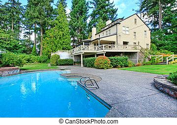ブラウン, 庭, 夏の別荘, 大きい, 外面, プール, 水泳