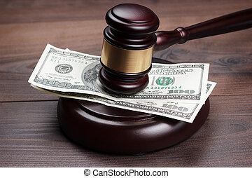 ブラウン, 木製である, お金, 小槌, 裁判官, テーブル