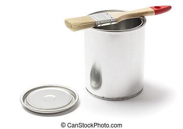 ブラシ, 金属, 開いた, 缶, ペンキ