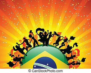 ブラジルの旗, スポーツ, ファン, 群集