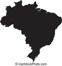 ブラジル, ベクトル, イラスト, 地図
