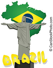 ブラジル, 救助者, ベクトル, キリスト, 像