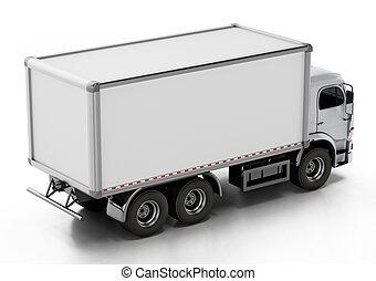 ブランク, イラスト, 白, 3d, trailer., トラック