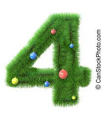 ブランチ, 作られた, クリスマスツリー, 4, 数