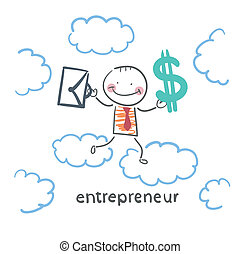 ブリーフケース, お金, 空, 企業家, によって, 行く