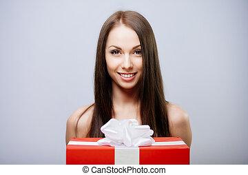 ブルネット, プレゼント, 素晴らしい