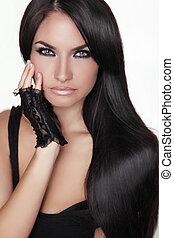 ブルネット, 女の子, girl., 美しさ, hair., モデル, woman., 隔離された, 肖像画, hairstyle., 健康, バックグラウンド。, 長い間, 美しい, 白