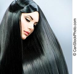 ブルネット, 女の子, hair., 長い間, まっすぐに, 美しい