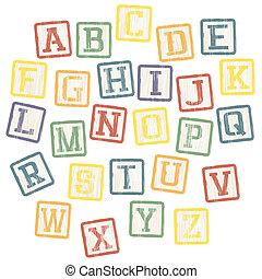 ブロック, アルファベット, ベクトル, eps8, collection., 赤ん坊
