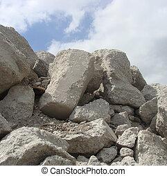 ブロック, チャンク, demolish, 大きい, 工場, セメント