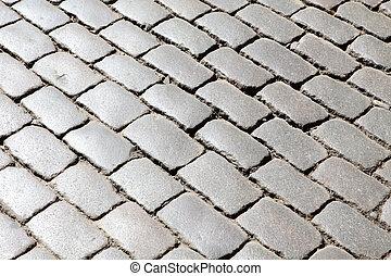 ブロック, 手ざわり, 舗装, 古い, 背景