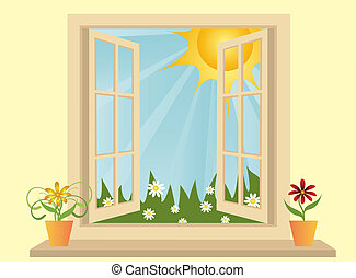 プラスチック, 光景, 窓, 緑, 開いた, フィールド, 部屋