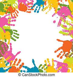 プリント, ベクトル, 抽象的, 背景, 手, 子供