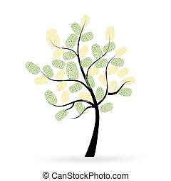 プリント, ベクトル, 木, 指