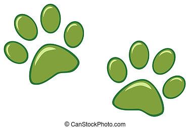 プリント, 緑, 足