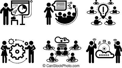プレゼンテーション, 概念, チームワーク, ビジネス アイコン