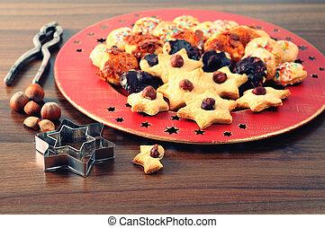 プレート, クッキー, 到来, time., nutes., クリスマス