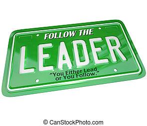 プレート, 単語, 免許証, 上, -, マネージャー, リーダーシップ, リーダー