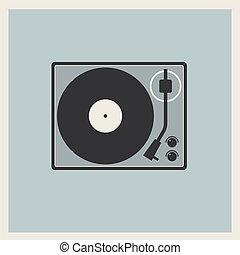 プレーヤー, ターンテーブル, ビニール, レトロ, レコード
