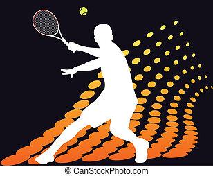 プレーヤー, テニス, halftone, 抽象的