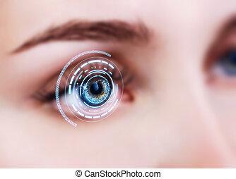 プロセス, scanning., クローズアップ, 女性の目