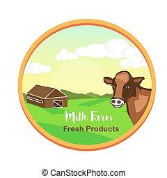 プロダクト, 自然, illustration., 牛, 農場, concept., イラスト, emblem., フィールド, ベクトル, 顔つき, ミルク, 風景, 窓。