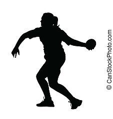 プロフィール, 回転, 円盤, 側, 投げる人, 女の子, 投球