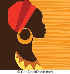 プロフィール, earrings., 女の子, シルエット, アフリカ