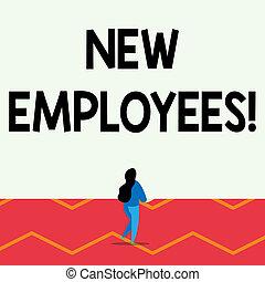 ヘアスタイル, 概念, previously, テキスト, 背中, 1(人・つ), lengthy, ある, 執筆, position., 新しい, 持つ, 女性ビジネス, 足, employees., 持ち上げられる, 雇われる, ない, 単語, 立ちなさい, 構成, 光景