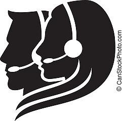 ヘッドホン, シンボル, headset), (women