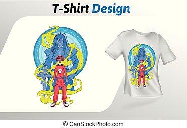 ヘッドホン, fantsy, 英雄, の上, 隔離された, tシャツ, バックグラウンド。, vr, ベクトル, デザイン, 人, 白, print., 遊び, template., mock, テンプレート