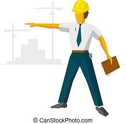 ヘルメット, ショー, 建築者, サイト, 建設, エンジニア