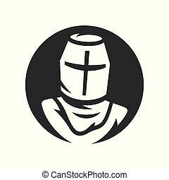 ヘルメット, シルエット, クルセーダー, 単純である, 騎士, 印。, ベクトル, illustration.
