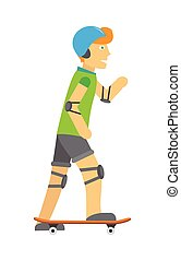ヘルメット, パッド, skateboarding, 肘, 膝, 人