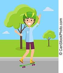 ヘルメット, ベクトル, スケートボード, skateboarder, 乗馬