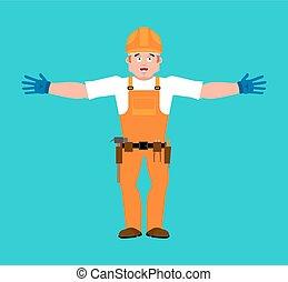 ヘルメット, 保護である, サービス, happy., 建築者, 労働者, イラスト, cheerful., merry., ベクトル, 修理人
