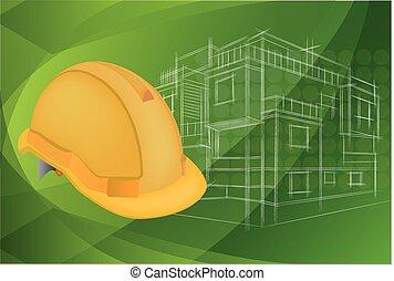 ヘルメット, 保護である, 建築, イラスト