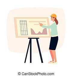 ヘルメット, 地位, 女, 若い, 建築家, 青写真, プロジェクト