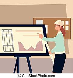 ヘルメット, 地位, 建築家, 若い女性, プロジェクト, 青写真
