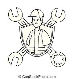 ヘルメット, 建築者, 労働者, 保護, レンチ