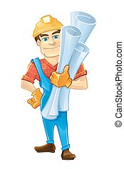 ヘルメット, 建築者, handyman, drawings., 建設, ∥あるいは∥